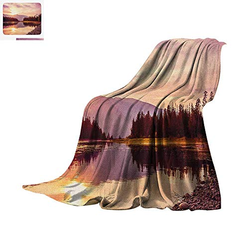 Landscape Super Soft Lightweight Blanket Grand Teton Mountain Range at Sunset Jackson Lake Calm National Park USA Custom Design Cozy Flannel Blanket 62