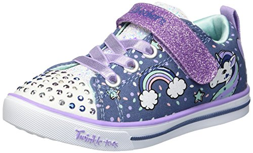 Skechers Kids Girls' Sparkle LITE-Unicorn Craze Sneaker, Denim/Lavender, 12 Medium US Little - Twinkle Toes