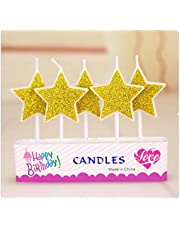 Gold cake Candles Home Decor Favor Supplies Children Kids Safe Flames Birthday Candle Pentagram Party Festival
