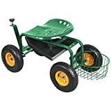 New Heavy Duty - Garden Cart Rolling Work Seat with Tool Tray and Basket | Green