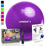 Exercise Ball (Multiple Sizes) for Fitness, Stability, Balance & Yoga - Workout Guide & Quick Pump Included - Anit Burst Professional Quality Design (Purple, 65CM)