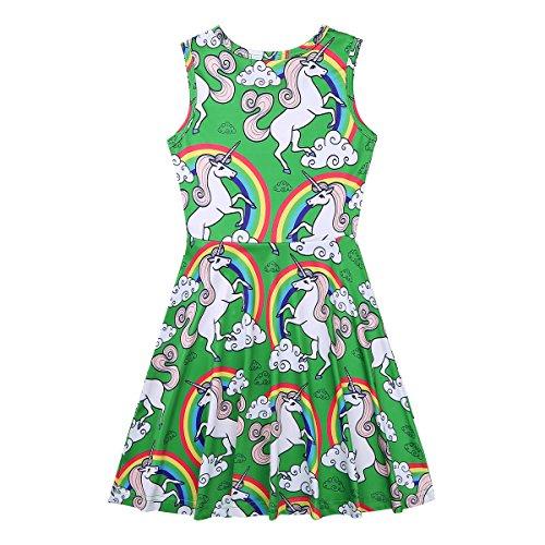 for Dress Girls Party Printed Cartoon Dresses TiaoBug Kids Casual Green Sleeveless Playwear 81zA1gxq