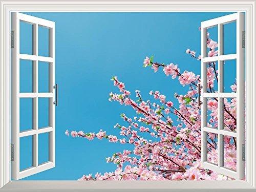Removable Wall Sticker Wall Mural Cherry Blossom Sakura Flowers under Blue Sunny Sky Creative Window View Wall Decor