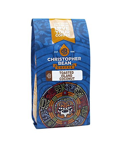 Christopher Bean Coffee Flavored Whole Bean Coffee, Toasted Island Coconut, 12 Ounce