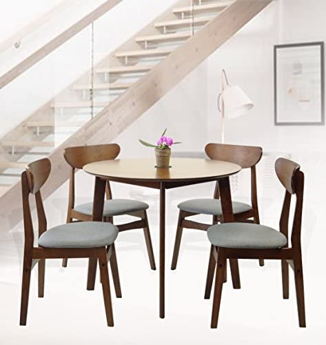 SK New Interiors Rattan Wicker Furniture Set of 5 Dining Kitchen Round Table and 4 Yumiko Side Chairs Solid Wood w Padded Seat Medium Brown