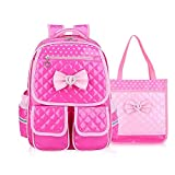 Kid Child Schoolbag Cute Girls Princess Style Backpack Waterproof Travel Bag Comfortable and Breathable Rucksack (Roseo Set)