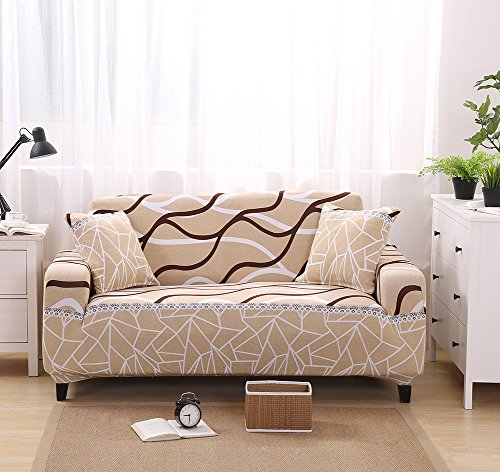 Forcheer Slipcovers for 3 Cushion Couch Spandex Slip Resistant Sofa Covers for Fabric Sofa Suede Sofa Leather Sofa 1 Piece (3 Seat for 195-230cm, Printed #9) (Covered Sofa Slip)