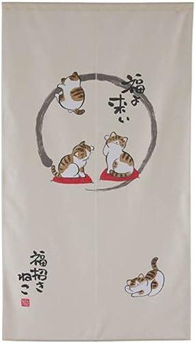 Made in Japan Type Noren Curtain Tapestry Maneki Neko Fortune Cat