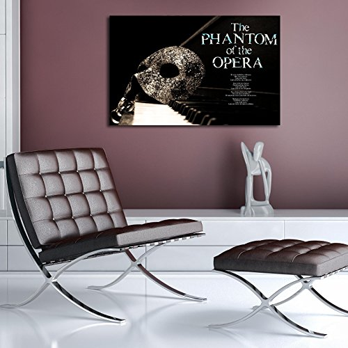 LaModaHome Art of Music Canvas Wall Art, The Phantom of The Opera - Mask on The Piano, Wooden Thick Frame Painting, (17.5