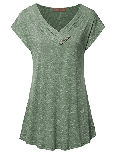 (Meow Meow Lace Women's Cap Sleeve V Neck Flare Tunic Top Blouse Button Trim A-Green L)