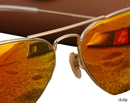 RAY BAN AVIATOR LUXOTTICA ORANGE MIRROR GOLD FRAME RB3025//112-69 MADE IN - Ban By Luxottica Ray
