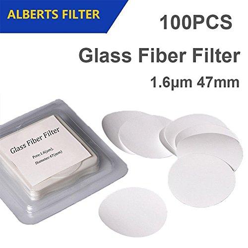 Set of 100 Glass Fiber Filter 1.6μm Pore size 47mm Diameter Lab Filter Binder free by Alberts Filter