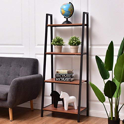 TANGKULA 4-Tier Ladder Shelf Ladder Bookcase Bookshelf Display Shelves (1)