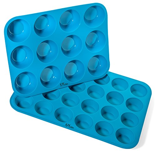 Silicone Muffin & Cupcake Baking Pan Set (12 & 24 Mini Cup Sizes) - Non Stick, BPA Free & Dishwasher Safe Silicon Bakeware Pans/Tins - Blue Top Home Kitchen Rubber Trays & Molds - Free Recipe eBook ()