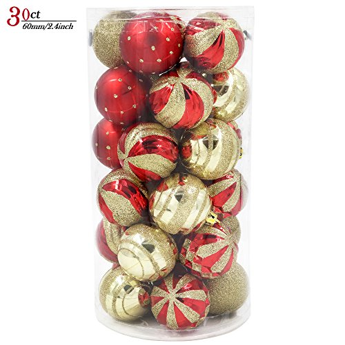 Valery Madelyn 30ct Luxury Red and Gold Shatterproof Christmas Ball Ornaments Decoration,60mm/2.36inch,30 Hooks Included, Themed with Tree Skirt(Not Included)
