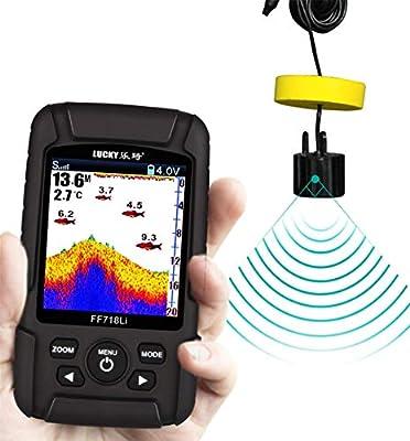 AZYJ Localizador De Peces, Profundidad Detector Inteligente Sensor De Sonar Demostración Agua Temperatura Tamaño Ubicación por Bote Kayac Sea Fishing