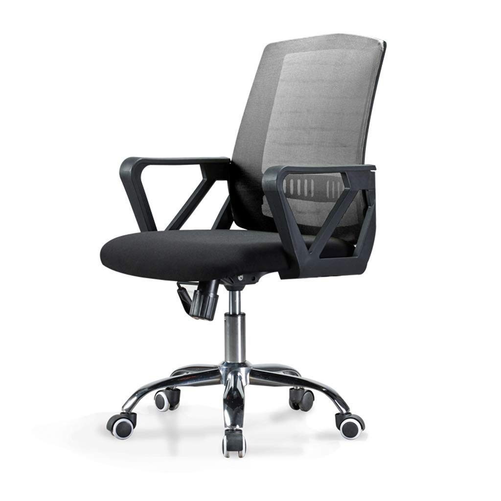 オフィス用回転チェア、車輪付き360度回転アームチェア、メッシュバック調節可能なシート高 (Color : Gray)   B07T242H27