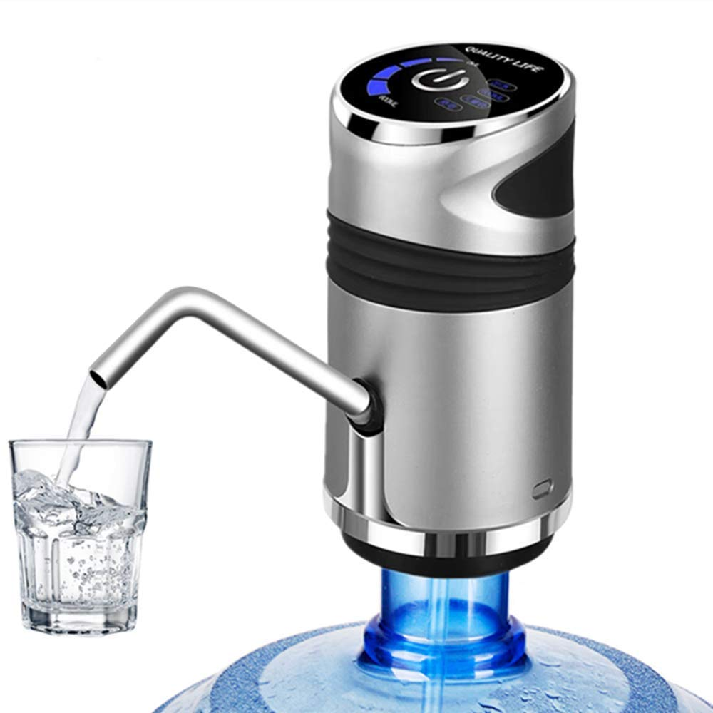 Electric Drinking Water Bottle Pump, Universal 5 Gallon Bottle Touch Screen Water Dispenser with Child Lock (E1)