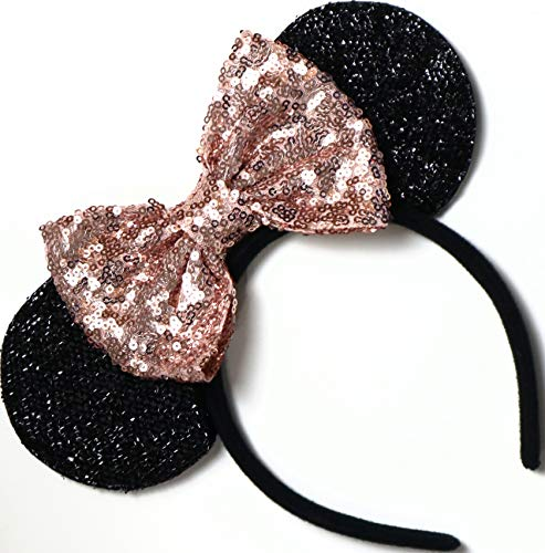CLGIFT Rose gold Minnie Ears, Iridescent Minnie Ears, Silver gold blue minnie ears, Rainbow Sparkle Mouse Ears,Classic Red Sequin Minnie Ears (Rose gold and black)