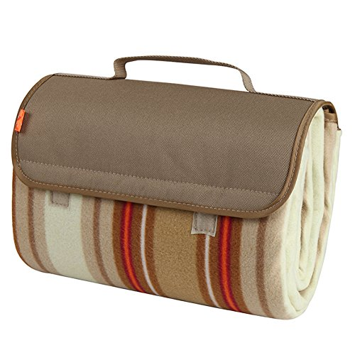 yodo Outdoor Water-Resistant Picnic Blanket Tote,Spring Summer Beige Stripe by yodo