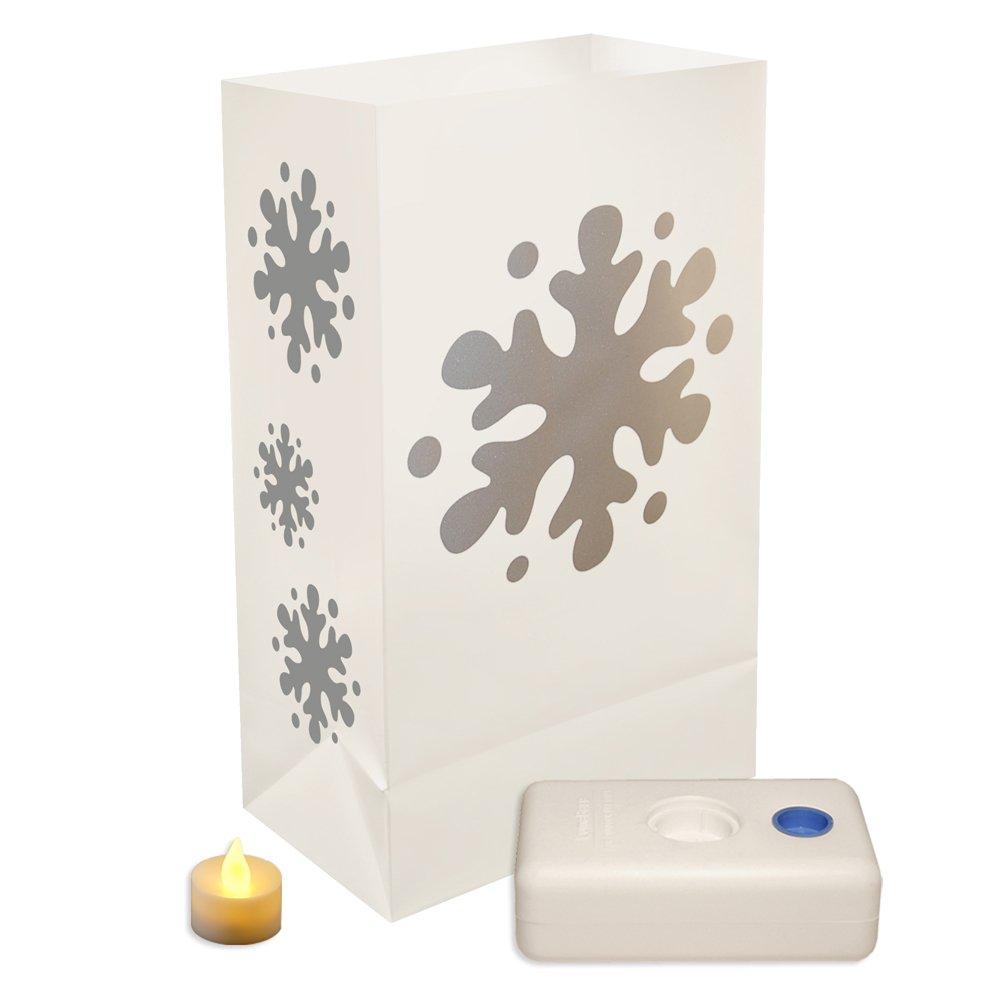 LumaBase Luminarias Battery Operated LED Luminaria Kit- Snowflake- 12ct, new