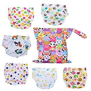 6 Packs Baby Cloth Diapers with 1 Wet Bag for Unisex Babies,One Size Adjustable Baby Diapers,Washable Reusable Suitable for 1-3 Years Babies