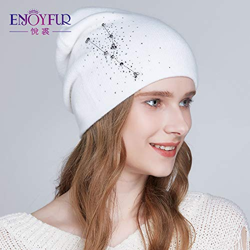 CNC. Women Winter Hats Knitted Angora Wool hat 2018 Fashion New Arrival Rhinestones Beanies for Lady