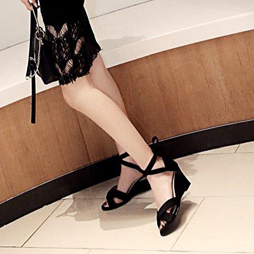 COOLCEPT Mujer Simple Cordones Peep Toe Tacon de Cuna Sandalias Negro