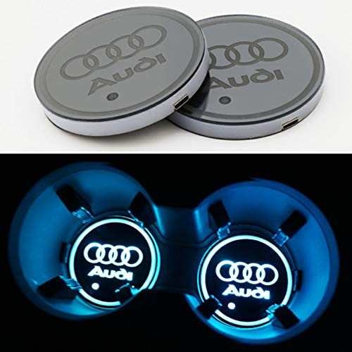 bearfire Car Logo Cup Pad Cup Coaster Charging Mat Luminescent Cup Pad Mat Interior Atmosphere Lamp Decoration Light (Audi)