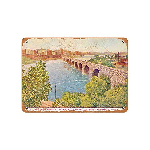 Stone Arch Bridge - Fhdang Decor Vintage Pattern James J. Hill Stone Arch Bridge Minneapolis Vintage Look Aluminum Sign Metal Sign,6x9 Inches