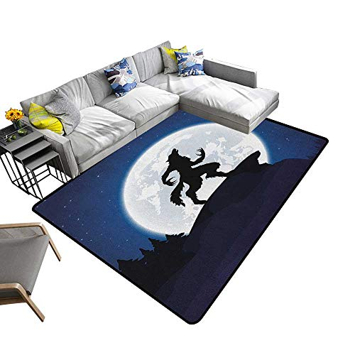 Wolf Household Decorative Floor mat Full Moon Night Sky Growling Werewolf Mythical Creature in Woods Halloween 70