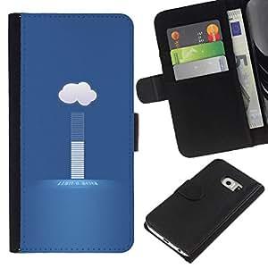 NEECELL GIFT forCITY // Billetera de cuero Caso Cubierta de protección Carcasa / Leather Wallet Case for Samsung Galaxy S6 EDGE // nube tiempo hoy