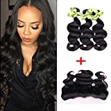 IUEENLY Brazilian Body Wave 3 Bundles With Frontal Free Part 13x4 Ear To Ear Lace Frontal Closure With Bundles Brazilian Virgin Human Hair Frontal (20 20 20+18inch)