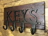 KEY RACK for''KEYS'' *Wall Key Holder *Rustic Wood with Metal KEY Hooks -Country Distressed Decor - Antique Cream Red White Blue * 13 X 7.5