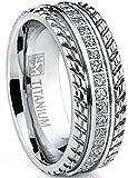 Men's Titanium Wedding Band, Engagement Eternity ring, Chevron design, Cubic Zirconia CZ Ring SZ 11