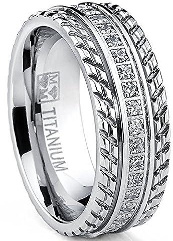 Men's Titanium Wedding Band, Engagement Eternity ring, Chevron design, Cubic Zirconia CZ Ring SZ 10 (Chevron Cz Ring)