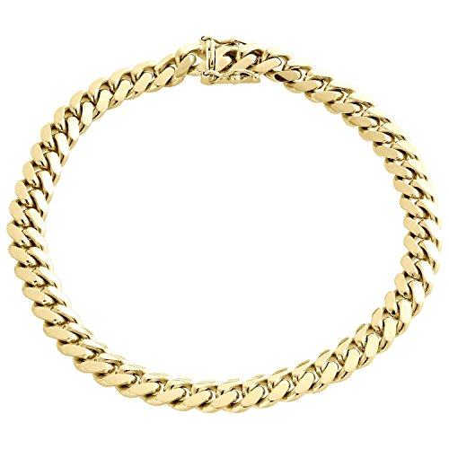 10K Yellow Gold Miami Cuban Link Chain Bracelet with Box Lock Clasp 7MM Wide- 8