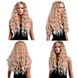 Alalaso Sexy Gold Party Wigs, Long Curly Hair Mixed Colors Synthetic Wig