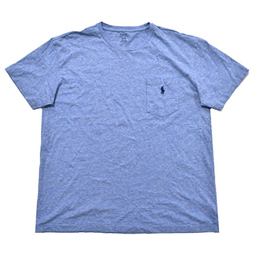 Polo Ralph Lauren Men's Crew Neck Pocket T-shirt (L, Powder Blue Navy Pony) (Ralph Pocket Lauren T-shirt)