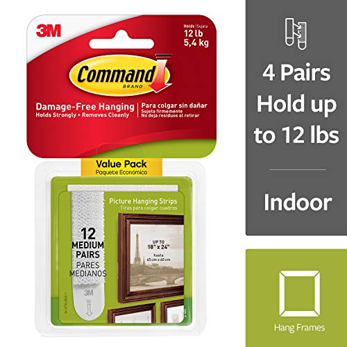 Command 17204-12ES 07248000796 CMND PIC HANG STRIP VP, 12 Pairs, White, Picture ()