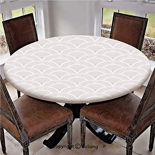 Elastic Edged Polyester Fitted Table Cover,Vintage Half Circle Figures with Retro Style Pale Tone Effects Artwork,Fits up 56