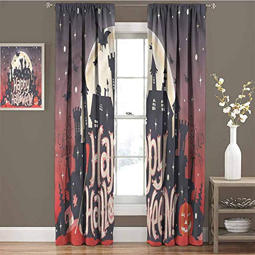 Castle Serenity Halloween (Halloween Blackout Curtain Set Medieval Gothic Castle Kindergarten Shading Insulation W96 x L84)