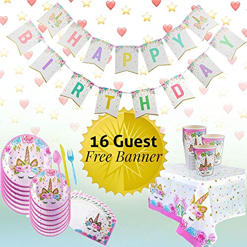 Unicorn Party Supplies| Serves 16 + Bonus Banner and Table cloth| Colorful birthday party set plates,napkins and cups! | Decorations for girls birthday party! ()