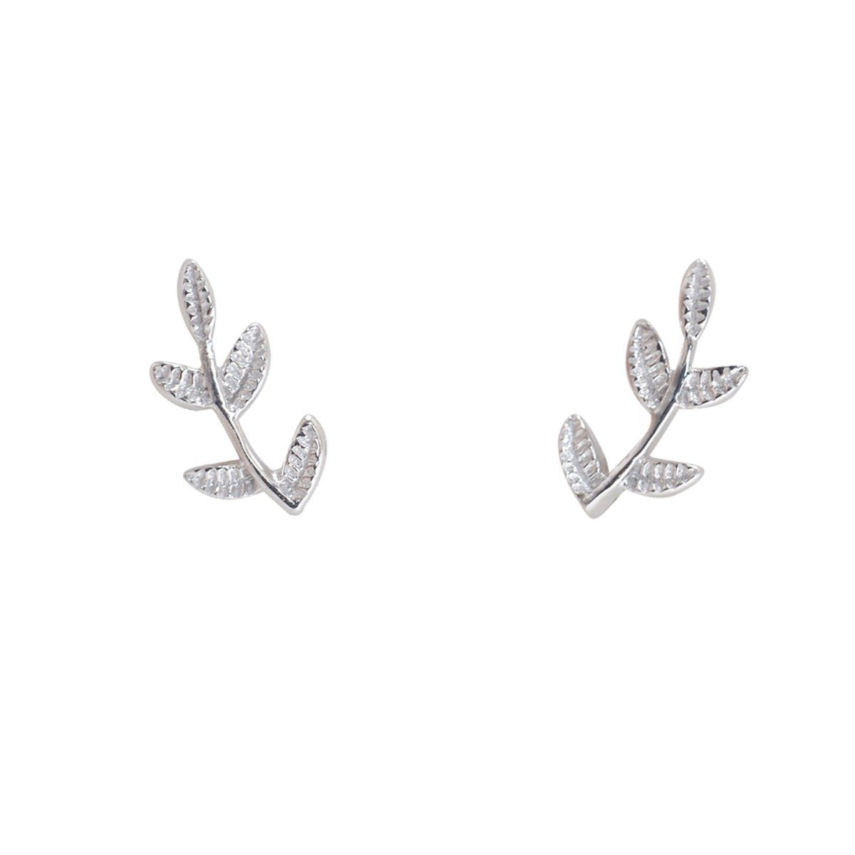 Humble Chic Tiny Leaf Studs - 925 Sterling Silver Delicate Branch Post Ear Stud Earrings, 925 White Tiny Branch, Sterling Silver, Hypoallergenic