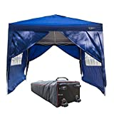 VINGLI 10'x10' Ez Pop Up Canopy Tent with 4 Removable Sidewalls, Folding Instant Wedding Party Pavilion Gazebo W/Portable Rolling Carrying Bag Blue