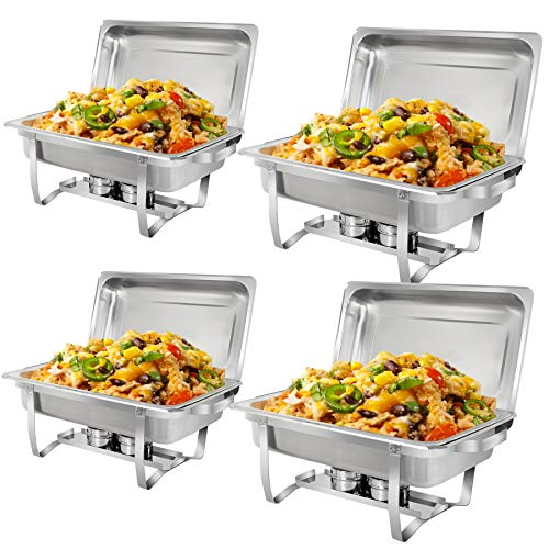SUPER DEAL 8 Qt Stainless Steel 4 Pack Full Size Chafer Dish w/Water Pan, Food Pan, Fuel Holder and Lid For Buffet/Weddings/Parties/Banquets/Catering Events (4) -