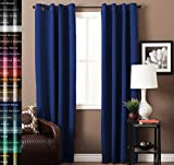 TURQUOIZE Solid Blackout Drapes, Dutch Blue, Themal Insulated, Grommet/Eyelet Top, Nursery & Infant Care Curtains Each Panel 52