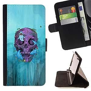 BullDog Case - FOR/Samsung Galaxy S6 EDGE / - / BIKER GRAFFITI SKULL DEATH DEEP ROCK /- Monedero de cuero de la PU Llevar cubierta de la caja con el ID Credit Card Slots Flip funda de cuer
