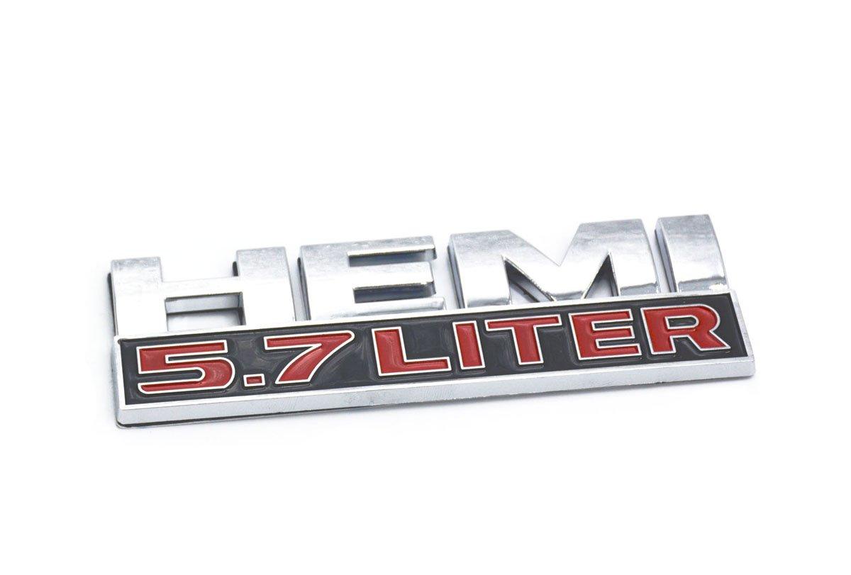 Aimoll 2pcs 5.7 Liter Hemi 3D Logo Decal Emblem for Side Pillar Door Fender Trunk Emblem Badge Plate Decal with Sticker Set for Dodge Charger Ram 1500 Challenger Jeep Grand Cherokee Chrome
