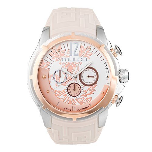 (Mulco Two Maze Swiss Quartz Multifunctional Movement Women's Watch | Forrest Rose Gold Pattern Sundial with Rose Gold and Swarovski Accents | Watch Band | Water Resistant (Beige))